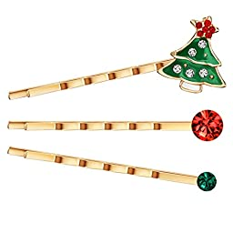 Neoglory Jewelry Rose Gold Plated Rhinestone Red and Green Christmas Trees Bobby Pin 3-pieces