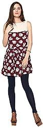 Shibori Women's Regular Fit Dress (DS5019VS_S-$P, Maroon, Small)