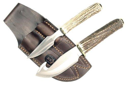 Ruko Genuine Deer Horn Handle Gut Hook Skinning Knife Set With Caping Knife And Leather Sheath