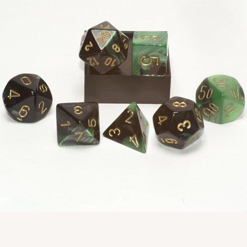 Polyhedral 7-Die Gemini Dice Set: Black & Green W/Gold (D4, D6, D8, D10, D12, D20 & D00)