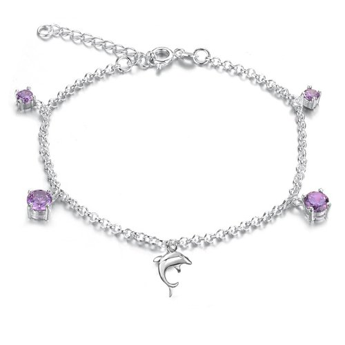 Opk Jewellery Fashion Adjustable Women's Anklet Bracelet Silver Plated Purple Crystal Dolphin Pendants Wedding Party Bride Gift Foot Chain Never Fade And Anti-Allergy 9.2 Inch Length 5g Weight New Design