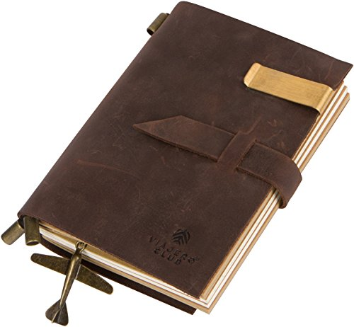 Genuine Leather Travel Journal with Refillable Notebooks (180 Pages), 5.9 x 4.1 Inches, Vintage, Brown, Handmade, For Men and Women (Diagram Notebook compare prices)