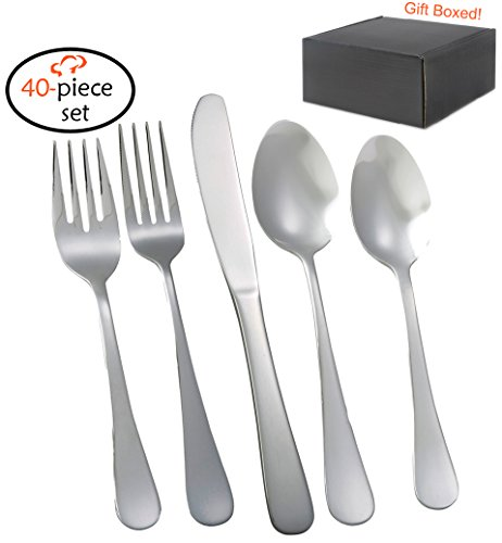 TigerChef TC-20362 Flatware Set, 18/0 Stainless Steel Cutlery Silverware Sets Service for 8, Avant-Garde (Pack of 40) (Service Silverware compare prices)