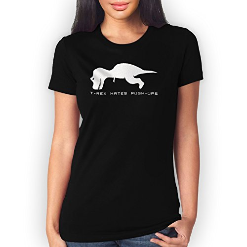 T Rex Hates Push Ups XXL Donne T-Shirt