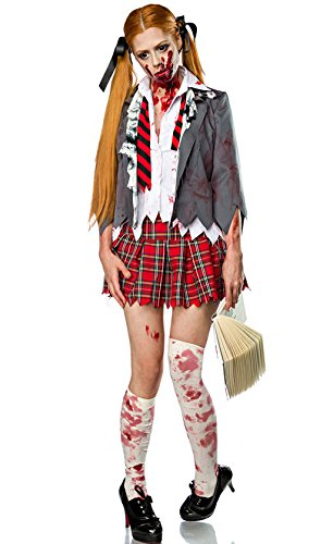 [NonEcho Adult High School Zombie Girl Costume 4Pc] (High School Zombie Costumes)