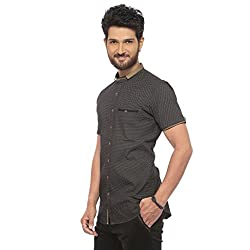 Apris Mens H/Slv All Over Printed Shirt-BLACK (S-3306) (M)