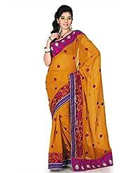 Designersareez Women Chiffon Embroidered Dark Mustard Saree With Unstitched Blouse(1187)