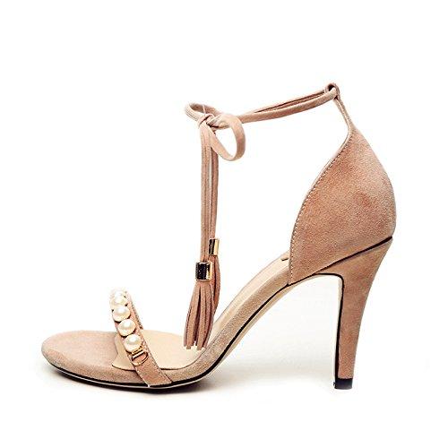 WSS Qualità agnello comfort strass open toe sandali tacco alto scamosciata . lotus color . 39