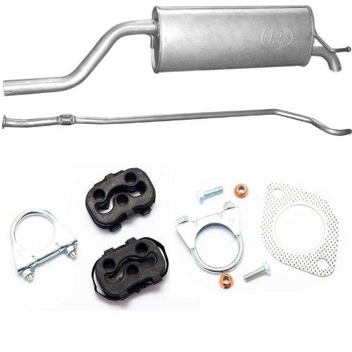 Auspuff Mittelrohr + Endschalldämpfer + Montagezubehör für Fiat GRANDE Punto 1.2i