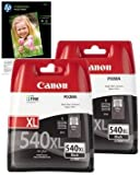 Twin Canon (High Capacity) Black Printer Ink Cartridges for Canon Pixma MG3150 &amp; 10x FREE HP Advanced Glossy Photo Paper