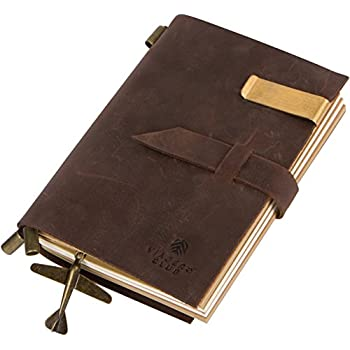 Genuine Leather Travel Journal with Refillable Notebooks (180 Pages), 5.9 x 4.1 Inches, Vintage, Brown, Handmade, For Men and Women