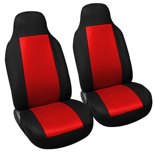 Adeco 2-Piece Car Vehicle Front Seat Protective Covers, Universal Fit, Black/Red front-1049028