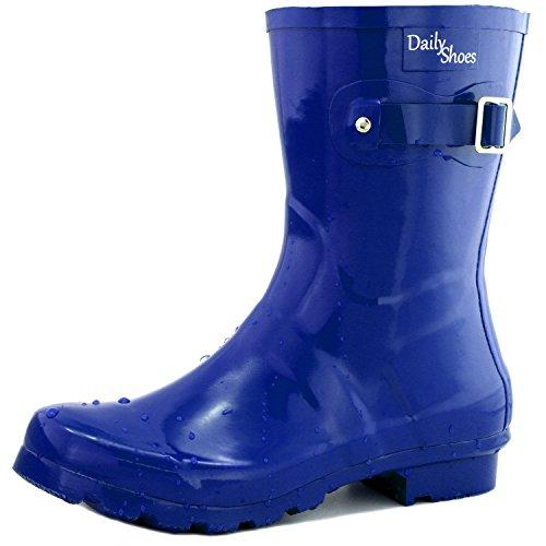 Women's DailyShoes Mid Calf Buckle Ankle High Hunter Rain Boot Round Toe Rainboots, 8 (Silver Blue Rain Boots compare prices)