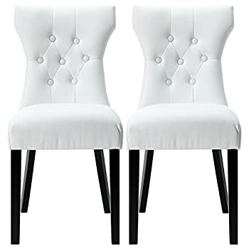 Modway Silhouette Tufted Faux Leather Parsons Dining Side Chair in White - Set of 2