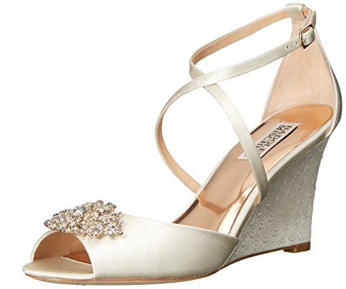 Badgley Mischka Women's Abigail Wedge Sandal, Ivory, 8 M US