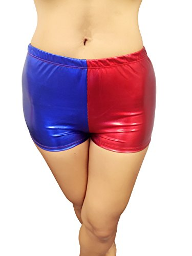 ENVY-BODY-SHOP-Misfit-booty-shorts-RedBlue-Harley-Quinn