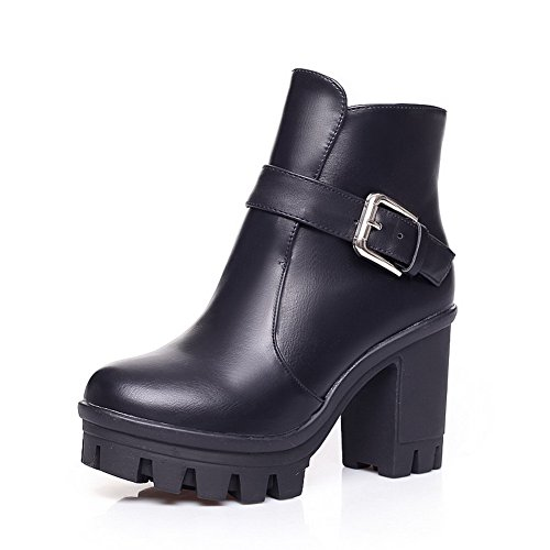 WeenFashion Womens Round Closed Toe High Heels PU Velvet?Lining Solid Boots with Buckle