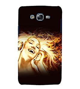printtech Music Girl Fire Abstract Back Case Cover for Samsung Galaxy A8 / Samsung Galaxy A8 A800F