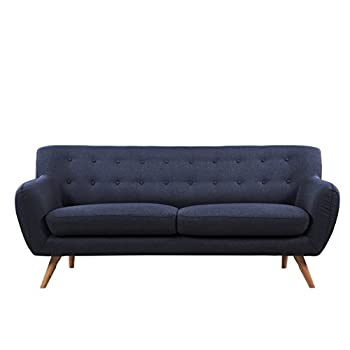 Mid-Century modern tufted linen fabric loveseat in various colors - polo blue, blue, light grey, yellow and red (Light Grey with Multi Color Buttons)