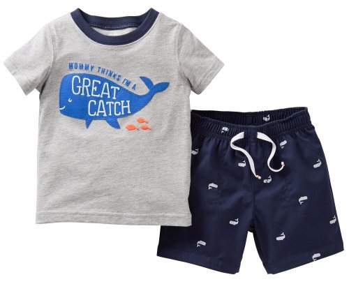 Carter's Little Boys' 2 Piece Shorts Set (Toddler) - Great Catch - 4T Color: Great Catch Size: 4T (Baby/Babe/Infant - Little ones)
