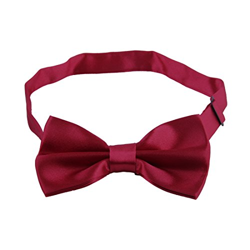 JINIU Men Solid Tuxedo Formal Adjustable Length Stylish Designer Bow Ties Boxed NB2 WineRed (Trendy Bow Ties compare prices)