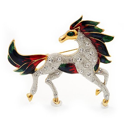 Oversized Diamante Enamel Horse Brooch In Rhodium Plated Metal
