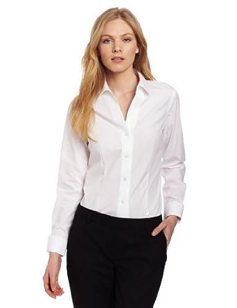 Jones new york women 39 s no iron easy care shirt jet white for No iron white shirt womens