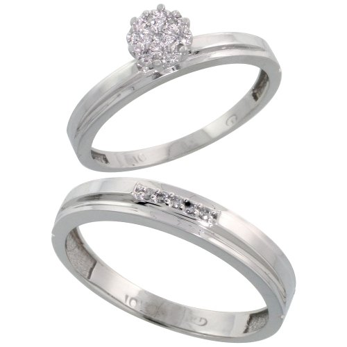 10k White Gold Diamond Engagement Rings Set for Men and Women 2-Piece 0.08 cttw Brilliant Cut, 3mm & 4mm wide, Size 7