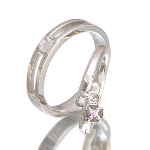 クロスペアリング/Ti Amo 十字架 ダイヤモンド 指輪 2個セット pair ring ケース付き 【メンズプラチナタイプ8号】【レディースプラチナタイプ・ピンクチャーム13号】