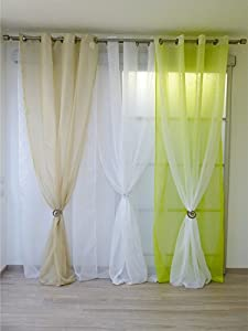 double net curtains with eyelets lime green and white