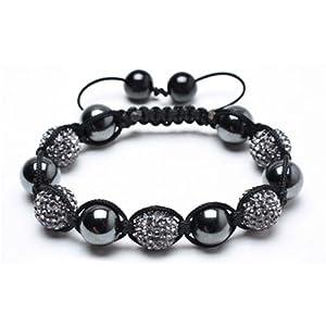 Bling Jewelry Hematite Grey Balls Shamballa Inspired Bracelet 12mm