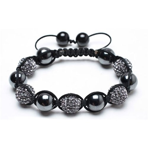 Fathers Day Gifts Bling Jewelry Smooth Round Hematite with Grey Swarovski Balls Shamballa Bracelet 12mm