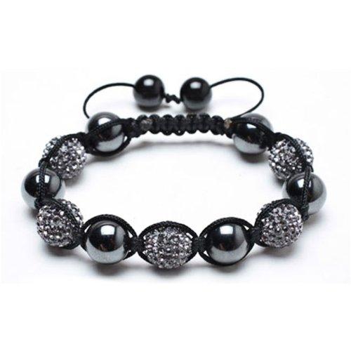 Fathers Day Gifts Bling Jewelry Smooth Round Hematite with Grey Swarovski Balls Shamballa Bracelet 12mm