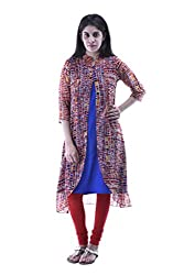 aarr Chinese Collar Georgette 3/4th Sleeves Casual A-Line Kurta For Women