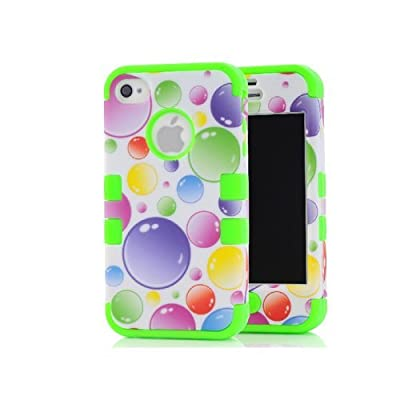 iPhone 4 Case, iPhone 4S Case, DRLL(TM) 3 in 1 Colorful Bubbles Paint Plastic +Silicone Design Hybrid Case Suitable fit for iphone4 4G 4S with Free Stylus - W279-(Green) from DRLL(TM)