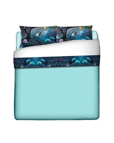 FUNNY BED by MANIFATTURE COTONIERE Betttuch und Kissenbezug himmelblau/mehrfarbig