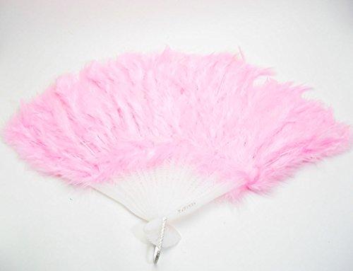 踊っちゃいなよ!ゴージャス 羽扇子 + お洒落 扇子袋 ライブ コンサート イベントに  アップドラフト (ピンク)
