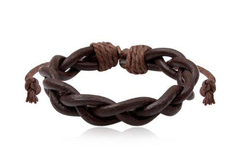 Fashion Weave Brown Leather Wrap Cuff Bracelet Bangle Men's Jewelry