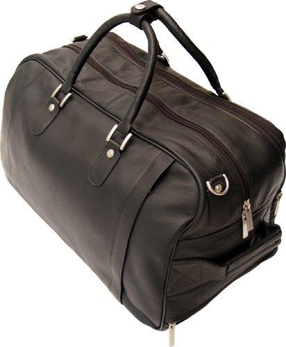 buy hideonline black leather trolley wheeled holdall duffle gym bag at wheeled holdalls. Black Bedroom Furniture Sets. Home Design Ideas