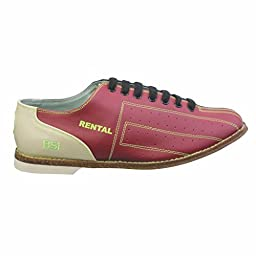 BSI Womens Leather Rental Bowling Shoes- Laces (7 1/2 M US, Red/Blue)