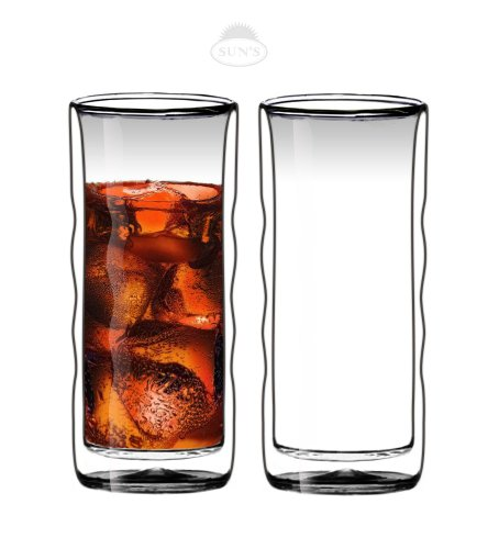 Sun's Tea(TM) 20oz Ultra Clear Strong Double Wall Insulated Thermo Wave Glass Tumbler Highball Glass for Beer/Cocktail/Lemonade/Iced Tea, Set of 2 (Double Wall Cup compare prices)