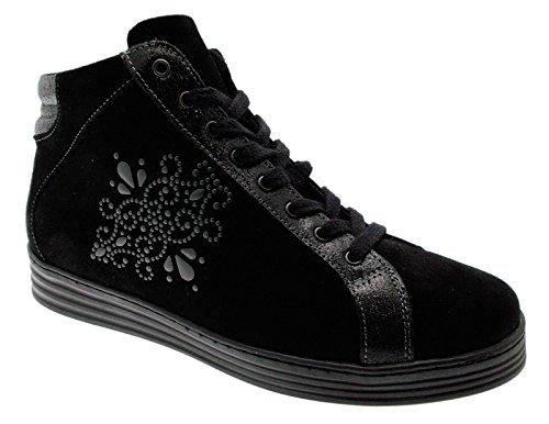 art C3672 lacci training nero cerniera sneaker scarpa donna 39 nero