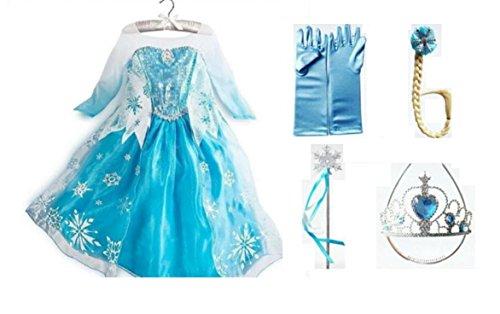 [Frozen Dress-Deluxe Elsa Dress-Up PACKAGE-Includes Dress & Accessories (2T/3T (100))] (Elsa 2t Costume)