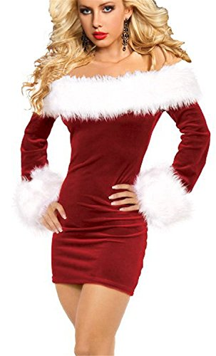 [Xiaotuzai Seductive Women's Sexy Off Shoulder Christmas Santa Costume Red2XL=US Size L-XL Hot] (4xl Santa Costume Uk)