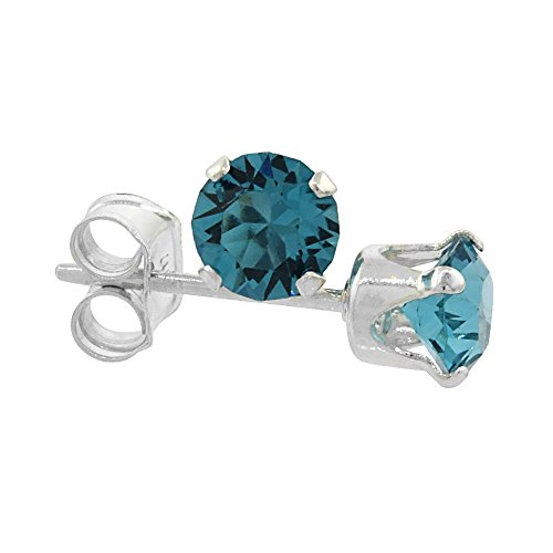 Sterling Silver Swarovski Crystal Blue Topaz color December Birthstone Stud Earrings 4 mm 1/2 ct total
