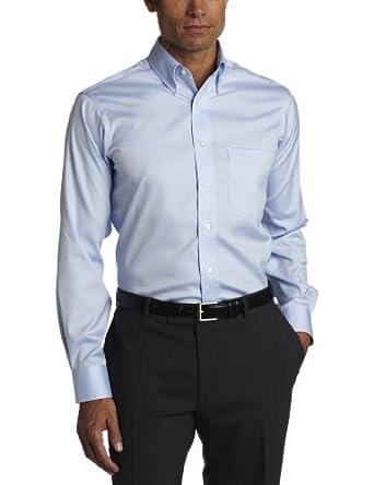 EAGLE Men's 100% Cotton Pinpoint Button Down Collar Non Iron Long Sleeve Dress Shirt,Blue Mist,15 32/33
