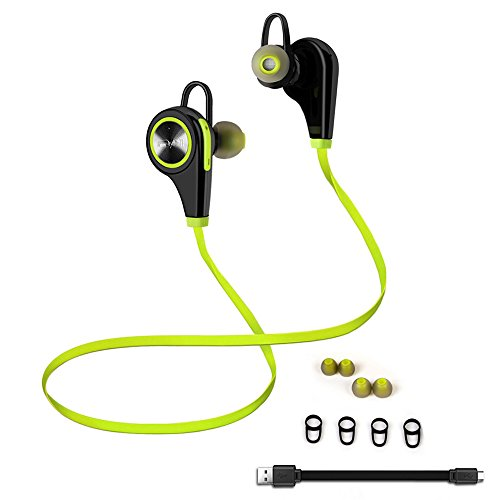 Bluetooth Headphone - Emixc Wireless Sports Headset Mic In-Ear Noise Cancelling Sweatproof Running Hiking Stereo Earphone for iWatch iPhone 7, 7 Plus, 6, 6 Plus, 5 iPad Air, Galaxy S7 - Lime Green