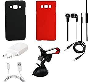 NIROSHA Cover Case Charger Headphone Mobile Holder for Samsung Galaxy ON7 - Combo