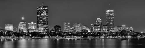 Boston Skyline PHOTO PRINT UNFRAMED Backbay NIGHT Black & White BW 11.75 inches x 36 inches Archival Photographic Panorama Poster Picture Standard Size (Boston Ma Pictures compare prices)