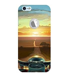PrintVisa Travel Bike Road Design 3D Hard Polycarbonate Designer Back Case Cover for Apple iPhone 6 Logo
